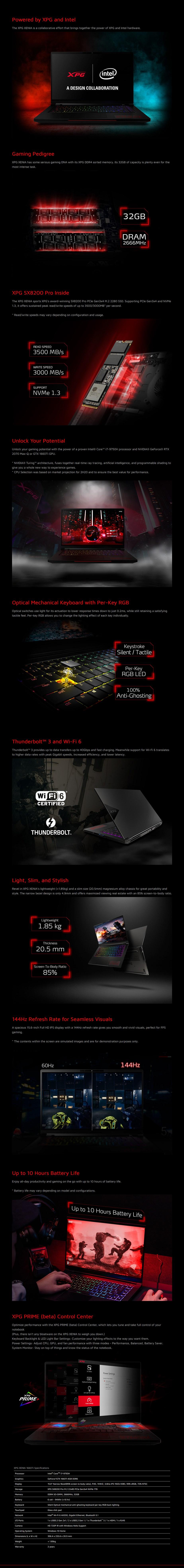 "ADATA XPG NB-XPG-XENIA15 15.6"" 144Hz Gaming Laptop i7-9750H 32GB 1TB 1660Ti W10H - Desktop Overview 1"
