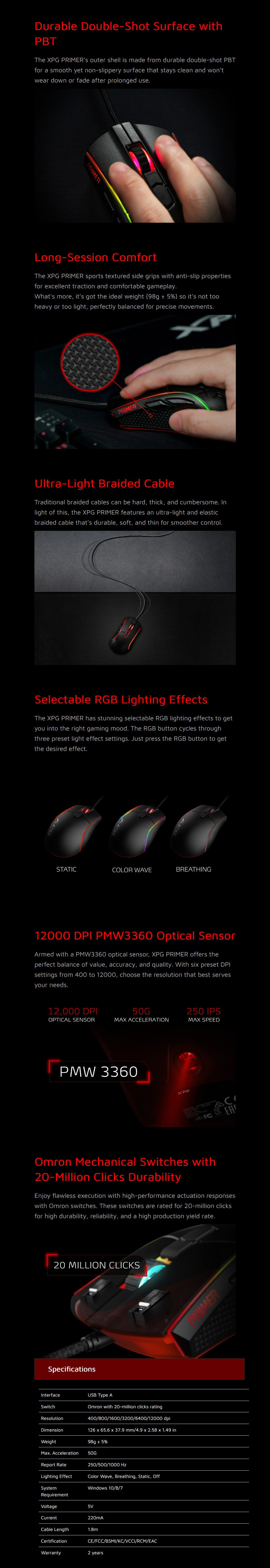 ADATA XPG PRIMER Optical Gaming Mouse - Overview 1