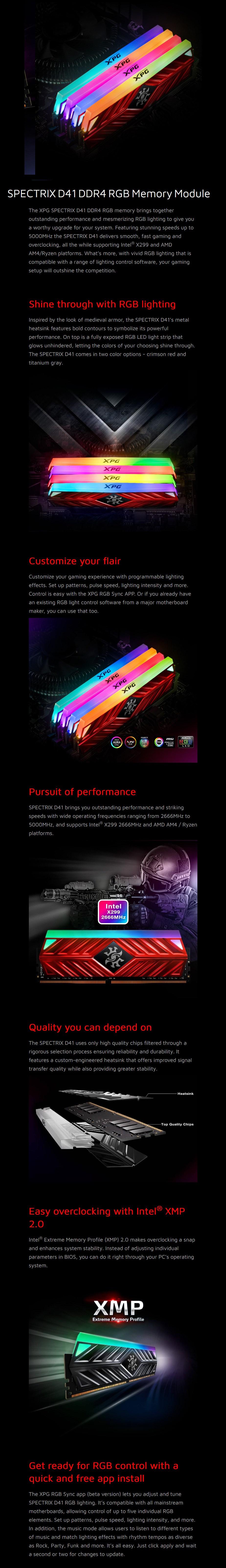 ADATA XPG Spectrix D41 16GB (2x 8GB) DDR4 3600MHz RGB Memory - Titanium Gray - Overview 1