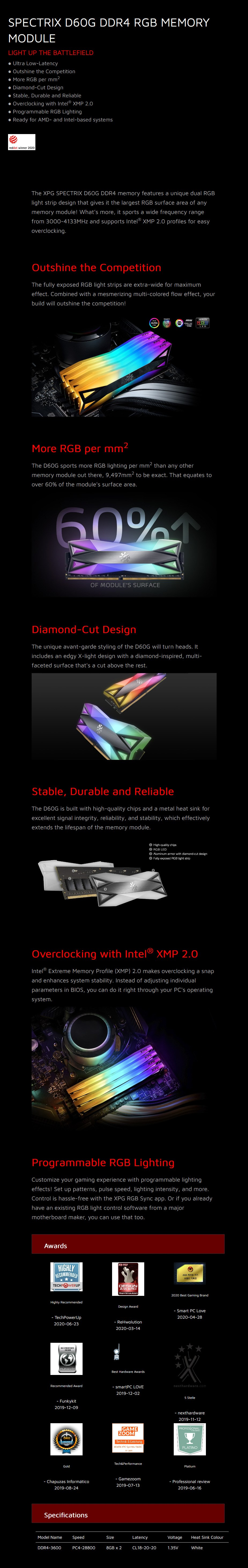 ADATA XPG Spectrix D60G 16GB (2x 8GB) DDR4 3600MHz RGB Memory - White - Overview 1