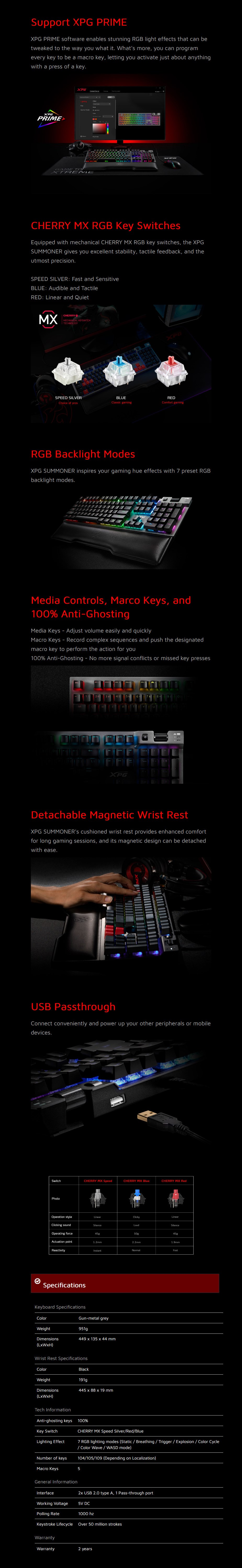 ADATA XPG SUMMONER RGB Mechanical Gaming Keyboard - Overview 1
