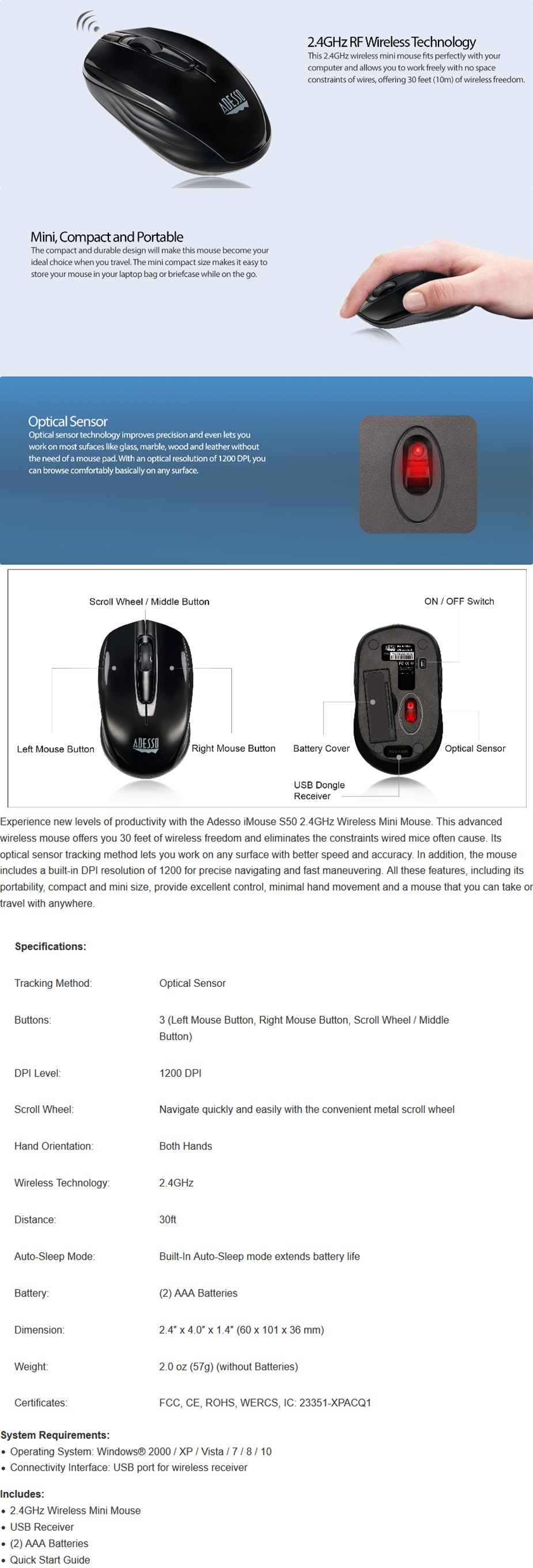 Adesso Wired USB Desktop Optical Waterproof Mouse - Desktop Overview 1