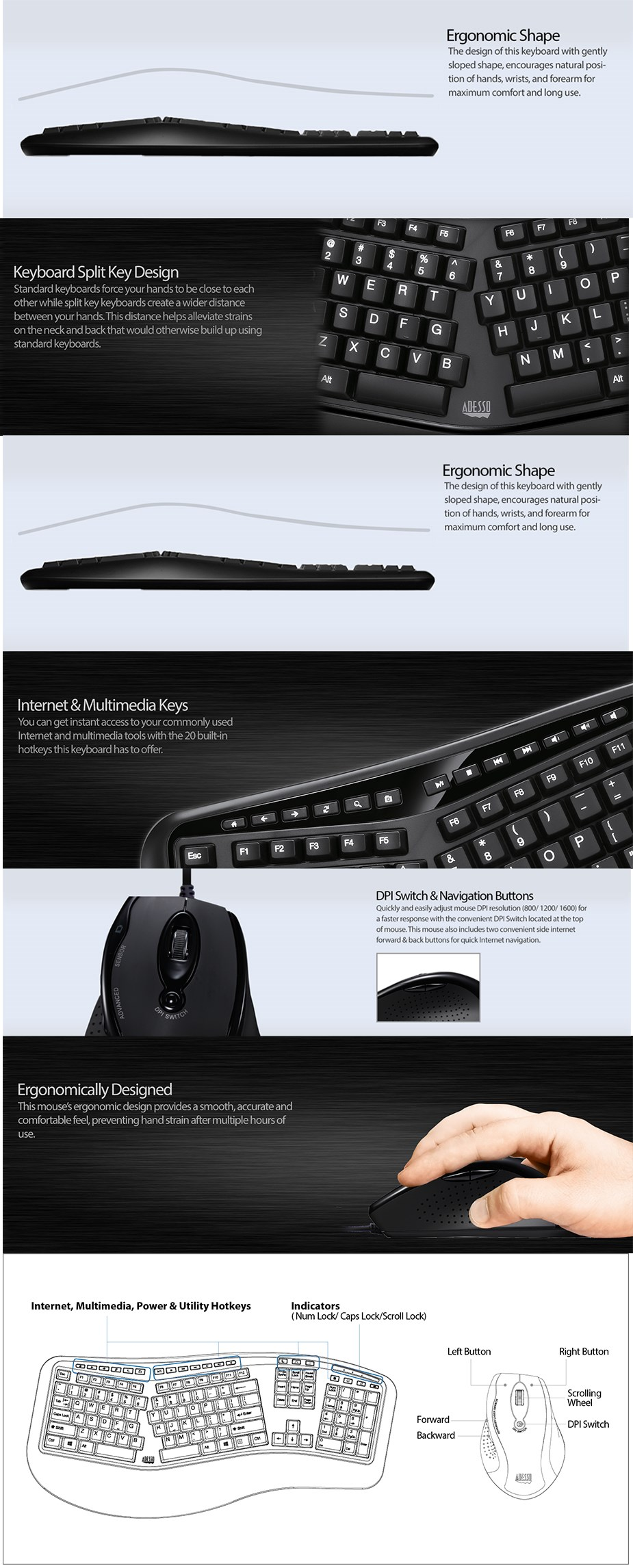 Adesso Wired USB Ergonomic Split 105-Key Keyboard + Optical Mouse Combo - Desktop Overview 1