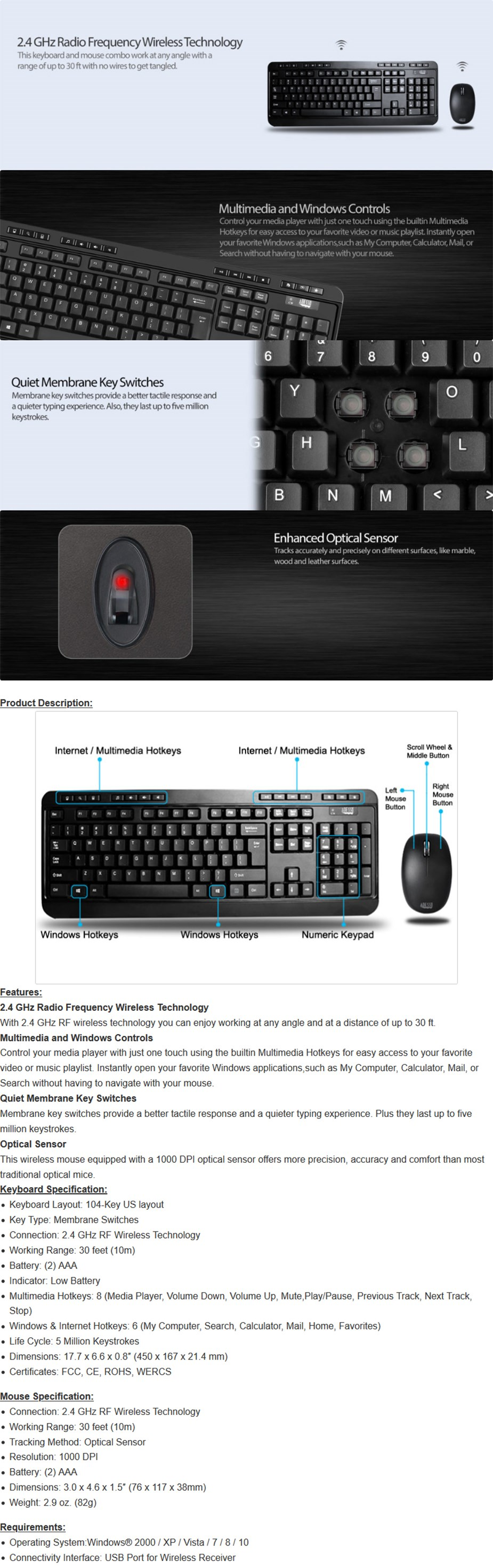 Adesso Wireless 104-Key Ergonomic Keyboard & Optical Mouse Combo - Overview Image 1