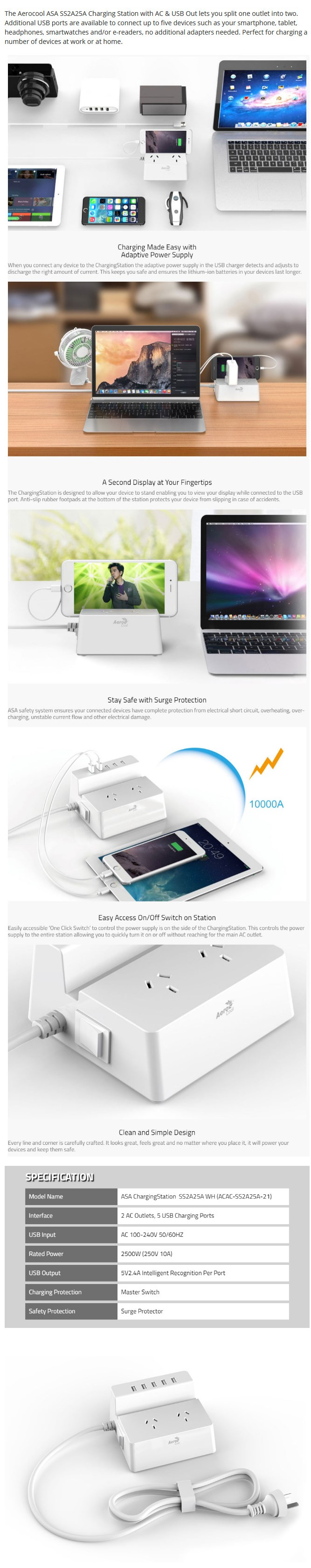Aerocool ASA-SS2A25A Charging Station Dual AC and 5 USB Port - Overview 1
