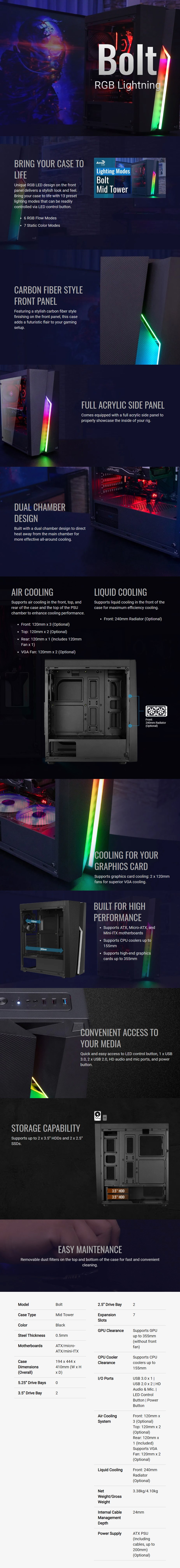 Aerocool Bolt RGB ATX Mid-Tower Case - Overview