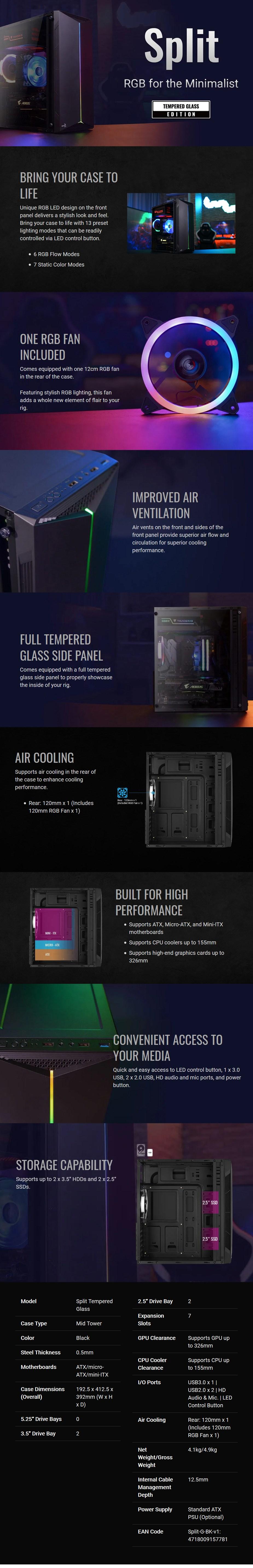 Aerocool Split Tempered Glass RGB ATX Mid-Tower Case - Black - Overview 1