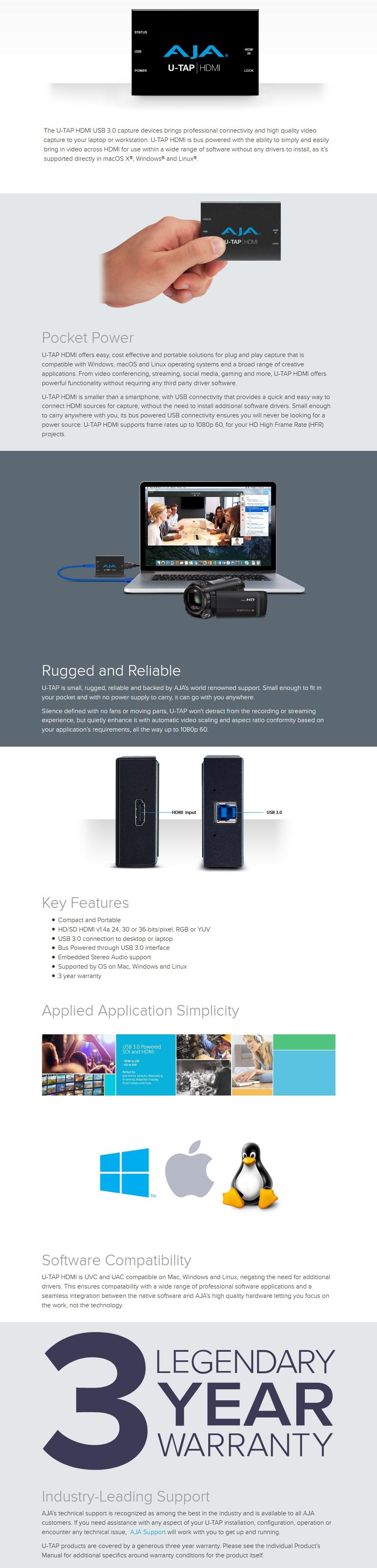 AJA U-TAP HDMI - Simple USB 3.0 Powered HDMI Capture - Overview 1