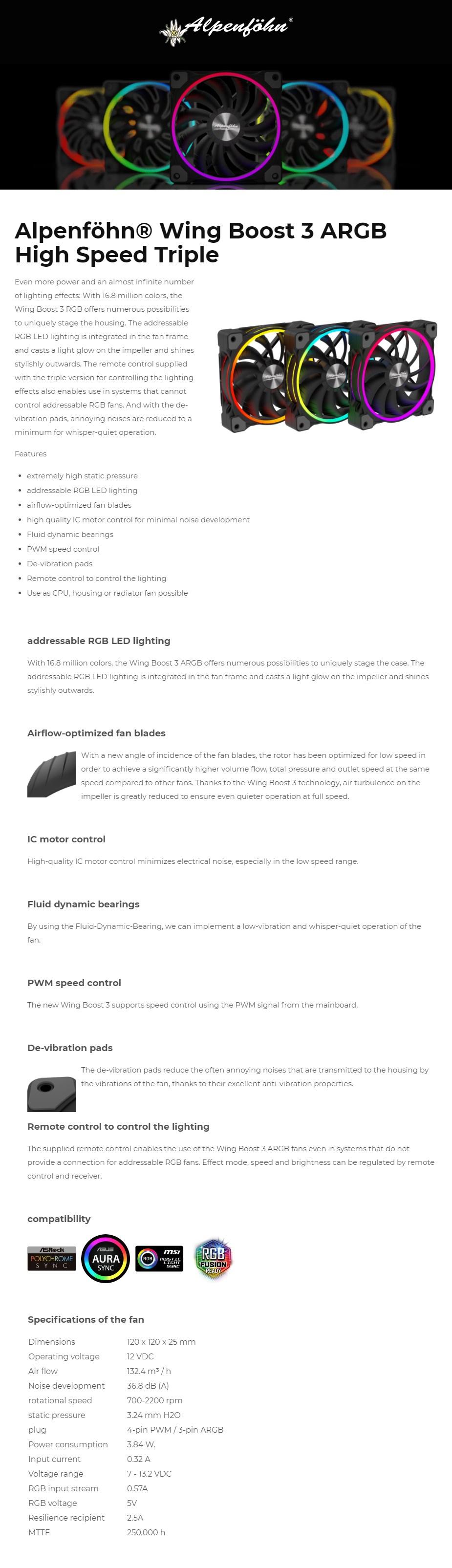 Alpenfohn 3 ARGB High Speed PWM 120mm White Case Fan - 3 Pack - Overview 1