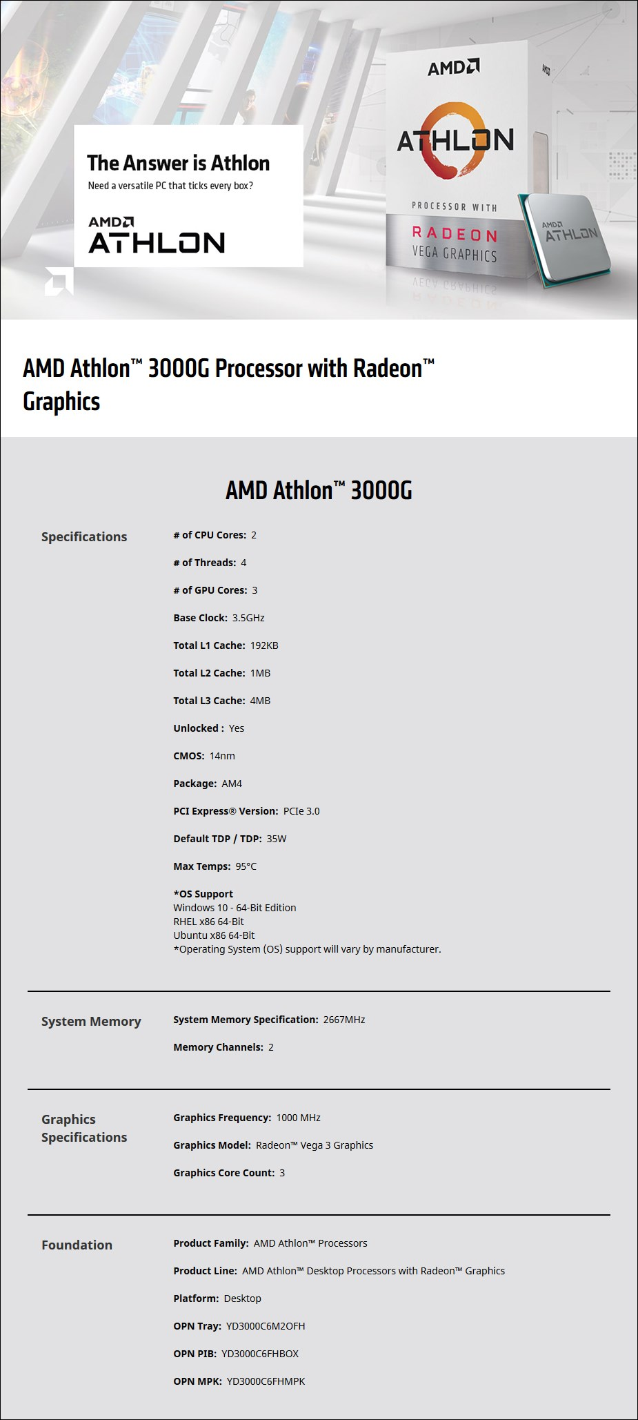 AMD Athlon 3000G 2-Core AM4 3.5 GHz CPU Processor with Radeon Vega 3 Graphics - Overview 1