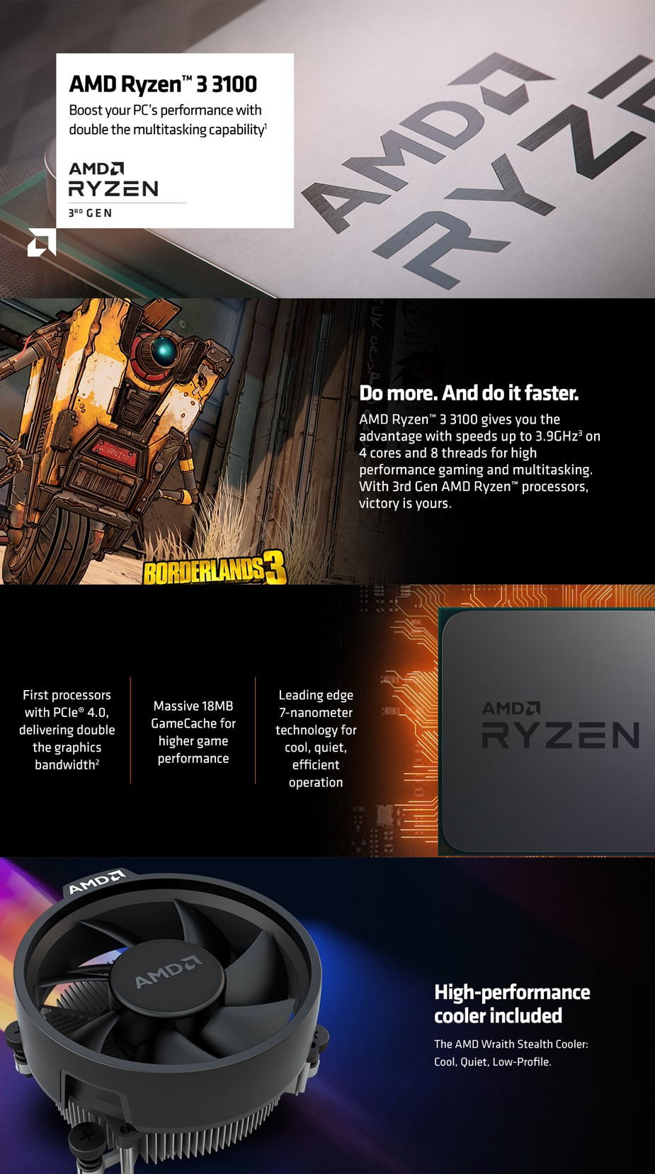 AMD Ryzen 3 3100 4 Core Socket AM4 3.6GHz CPU Processor + Wraith Stealth Cooler - Overview 1