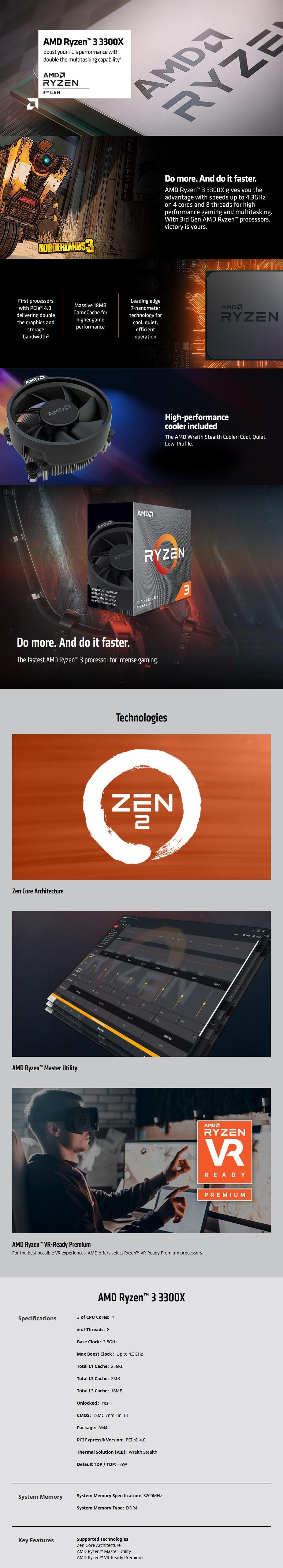 AMD Ryzen 5 3600 6 Core Socket AM4 4.2GHz CPU Processor + Wraith Stealth Cooler - Desktop Overview 1