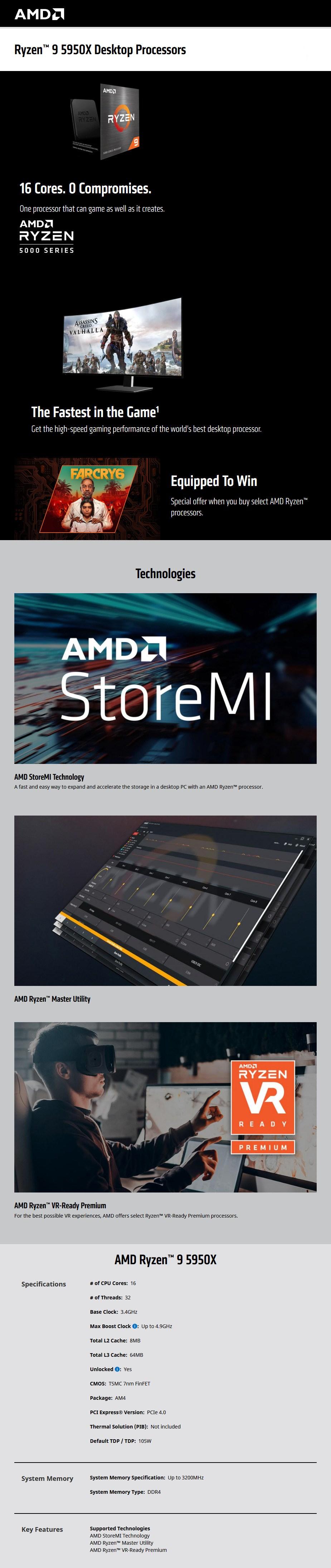 AMD Ryzen 9 5950X 16-Core AMD 3.40 GHz Unlocked CPU Processor - Overview 1