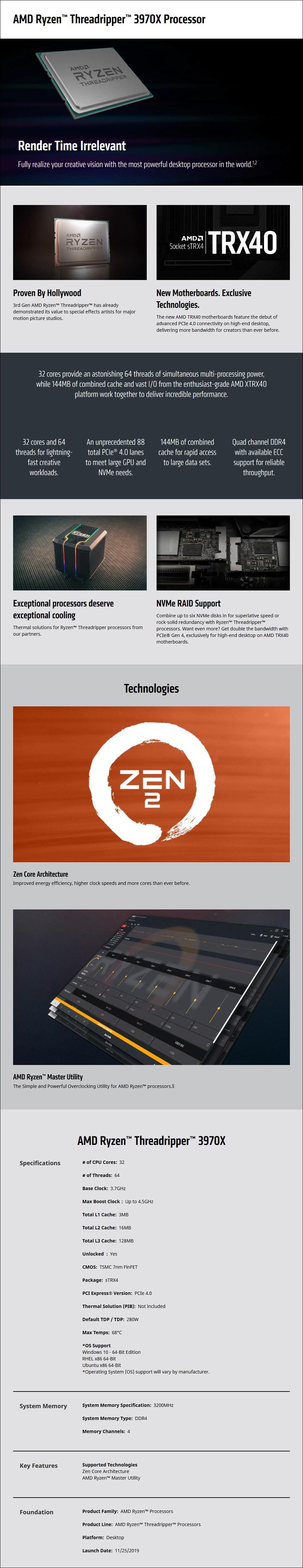 AMD Ryzen Threadripper 3970X 32-Core TRX4 3.70 GHz Unlocked CPU Processor - Overview 1