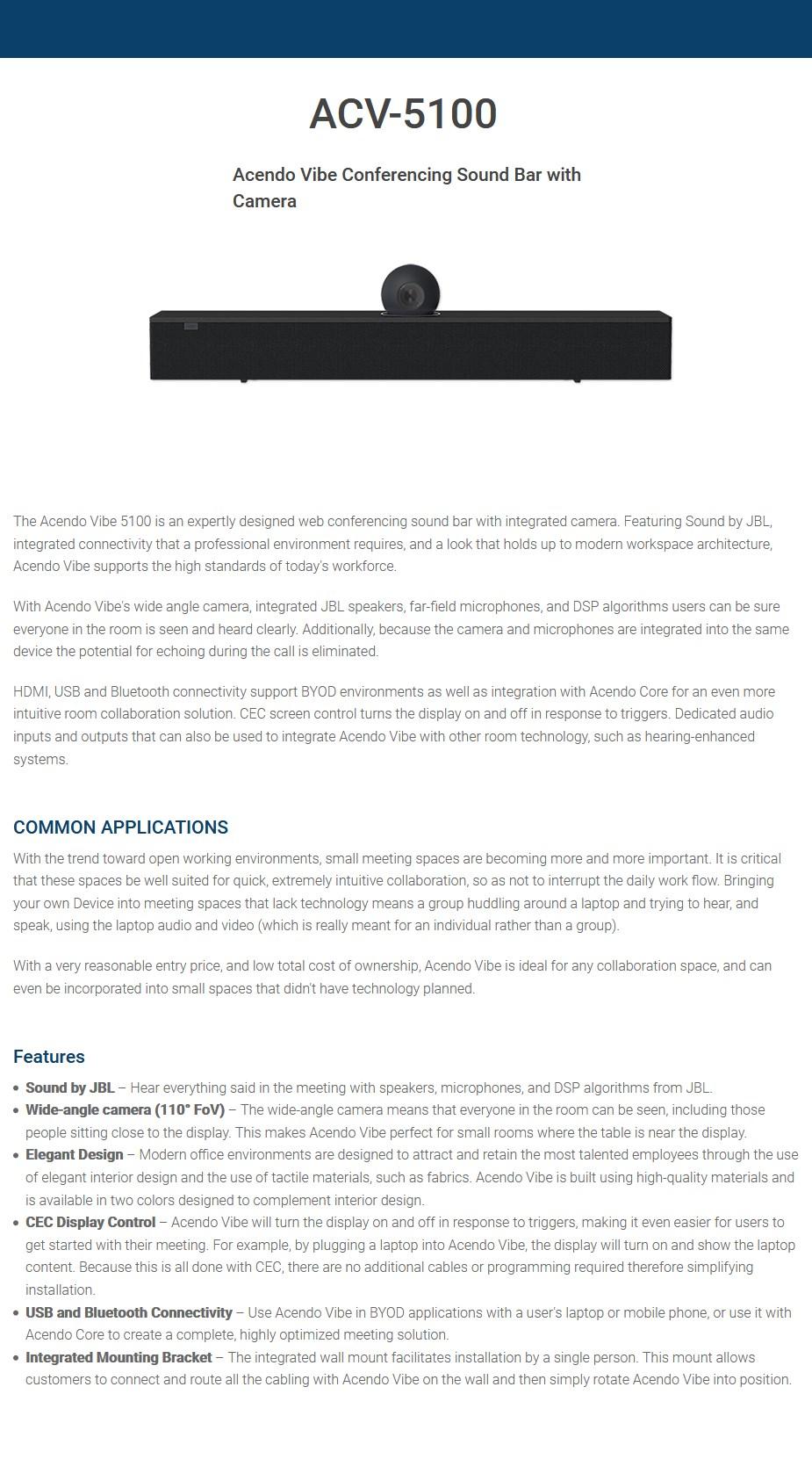 AMX by Harman ACV-5100BL Acendo Video Conferencing Camera With JBL Soundbar - Overview 1