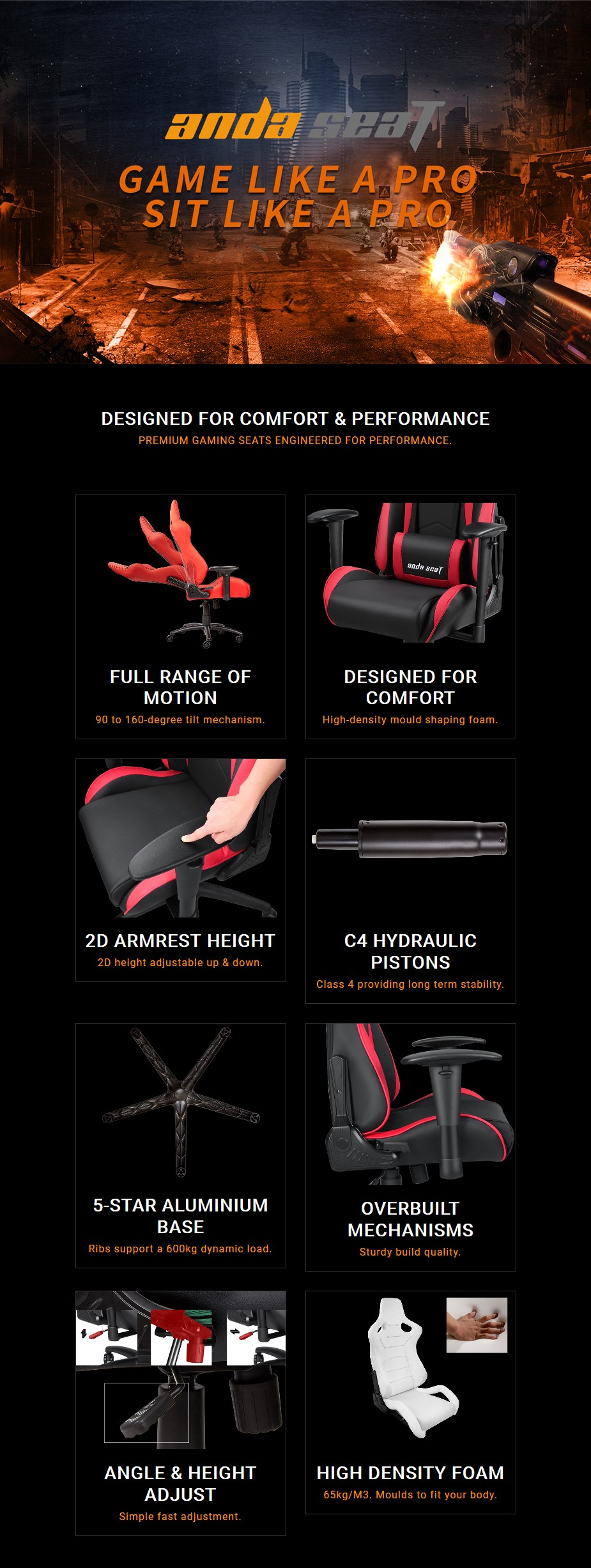 Anda Seat AD5-01 Series Gaming Chair - Black/Red - Overview 1
