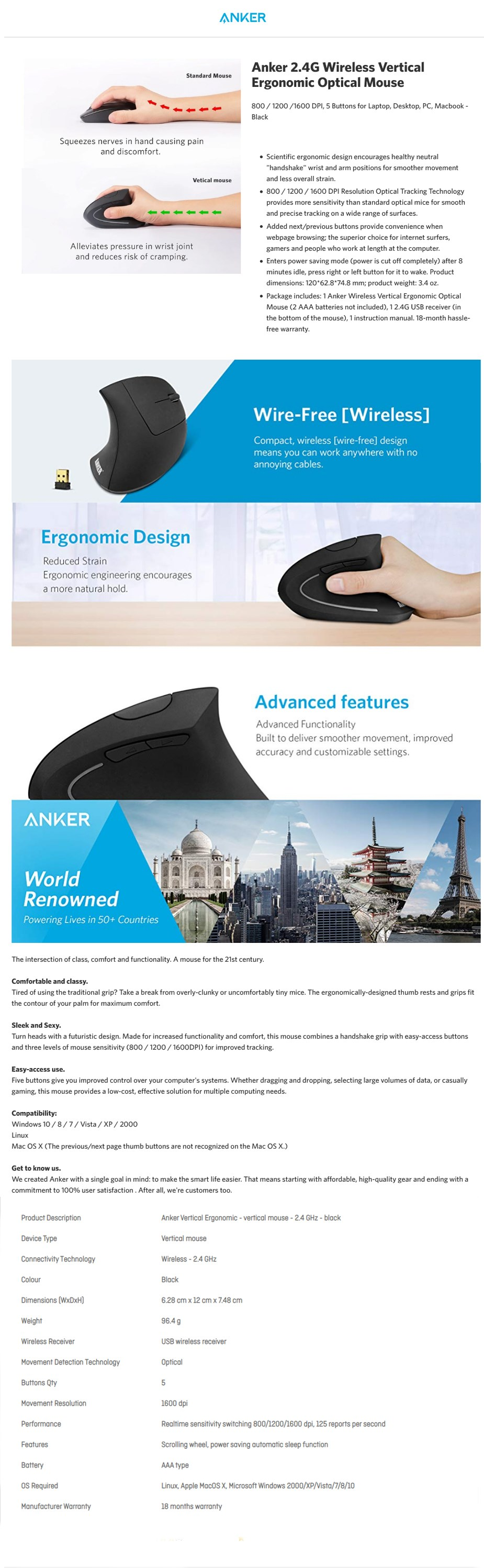 Anker 2.4G Wireless Optical Vertical Ergonomic Mouse - Overview 1