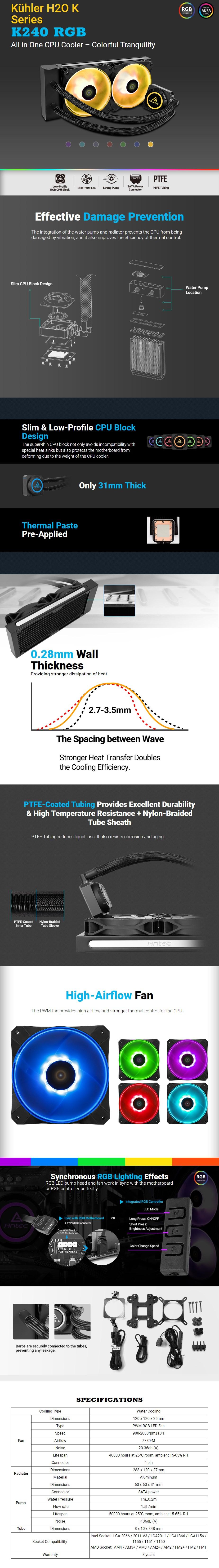 Antec Kuhler K240 RGB AIO Liquid CPU Cooler - Overview 1