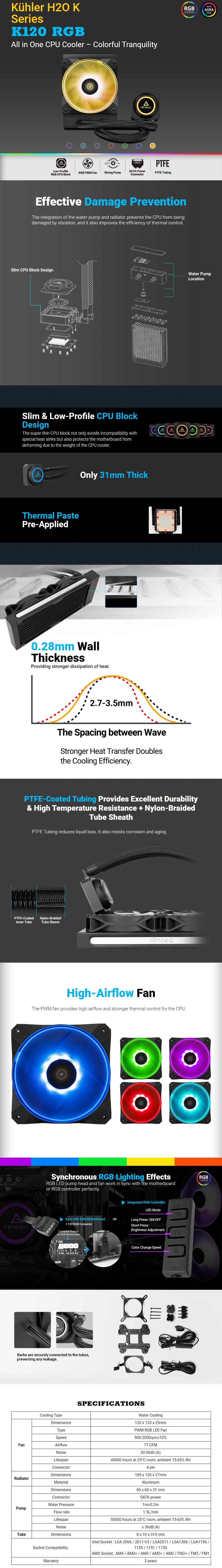 Antec Kuhler K120 RGB AIO Liquid CPU Cooler - Overview 1