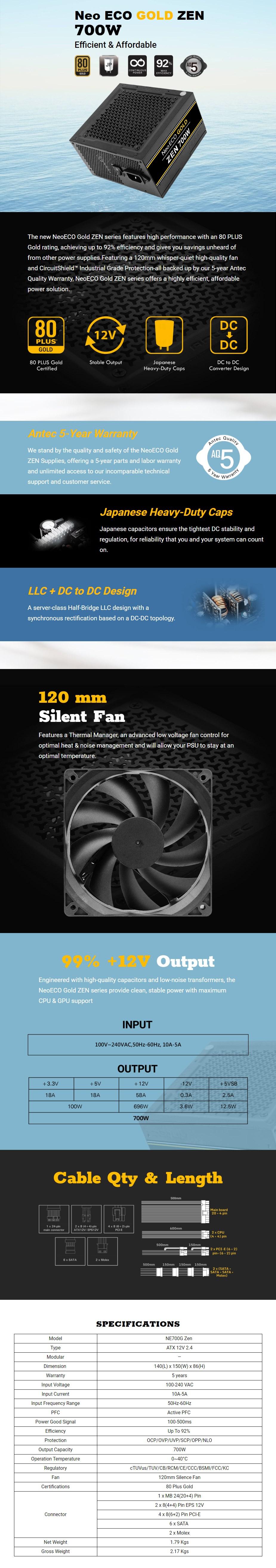 Antec Neo ECO GOLD ZEN 700W 80+ Non-Modular Power Supply - Overview 1