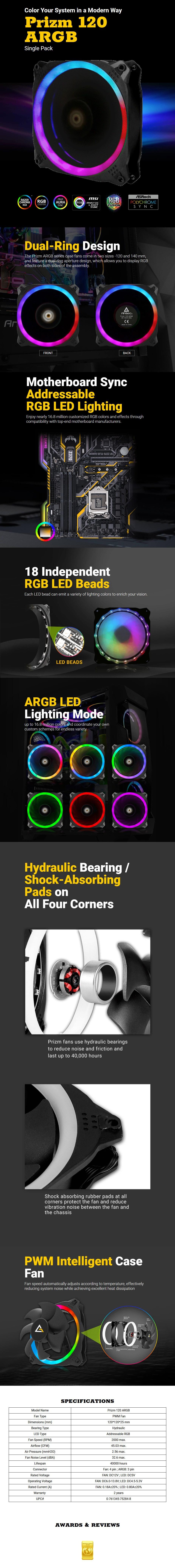 Antec Prizm 120 ARGB PWM Case Fan - Overview 1