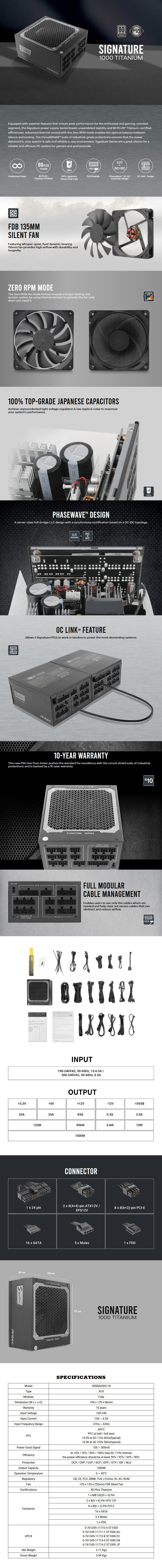 Antec Signature 1000W 80+ Titanium Fully Modular Power Supply - Overiew 1