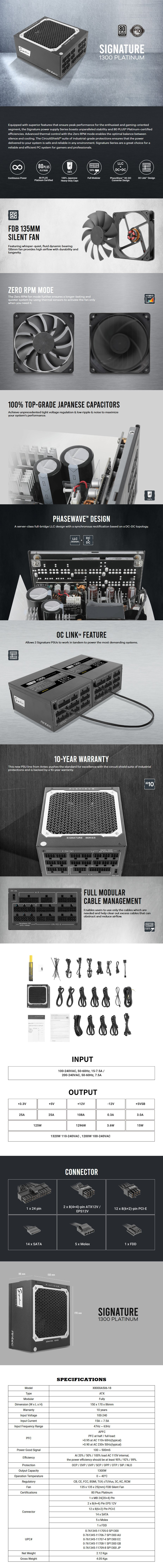 Antec Signature 1300W 80+ Platinum Fully Modular Power Supply - Overview 1