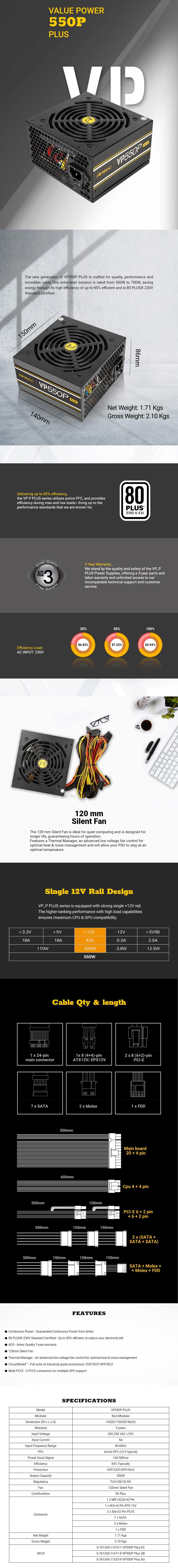 Antec VP550P PLUS 550W 80+ PSU 120mm Power Supply - Overview 1
