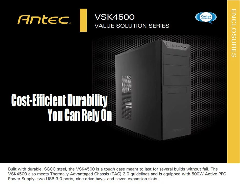 Antec VSK4500E-U3 Mid-Tower ATX Case with 500W PSU - Overview 1