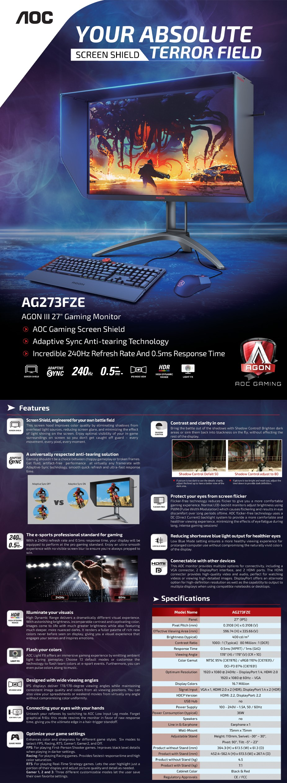 "AOC AGON AG273FZE 27"" 240Hz Full HD 1ms G-Sync Compatible IPS Gaming Monitor - Overview 1"