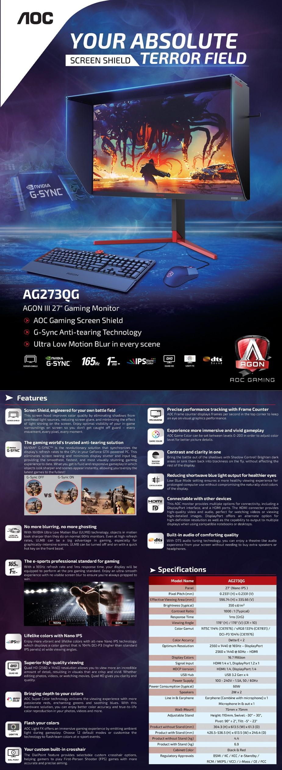 "AOC AGON AG273QG 27"" 165Hz QHD 1ms G-Sync Nano IPS Gaming Monitor - Overview 1"