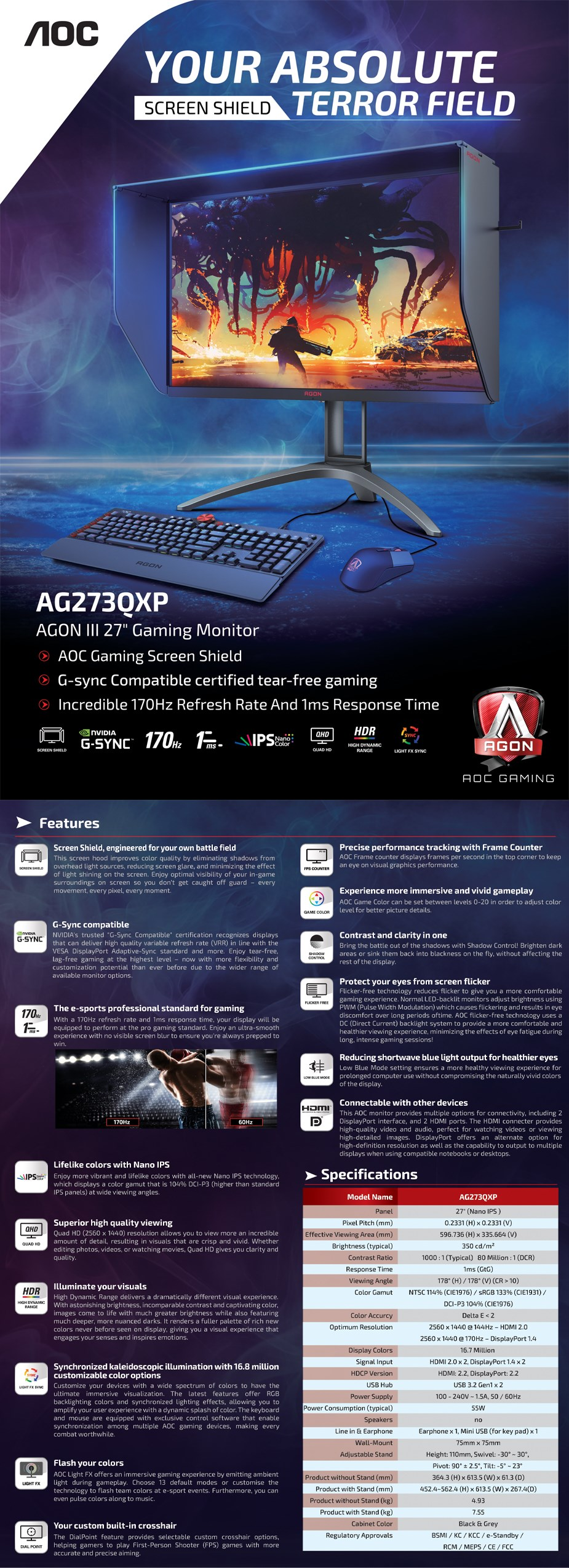 "AOC AGON AG273QXP 27"" 170Hz QHD 1ms G-Sync Compatible Nano IPS Gaming Monitor - Overview 1"