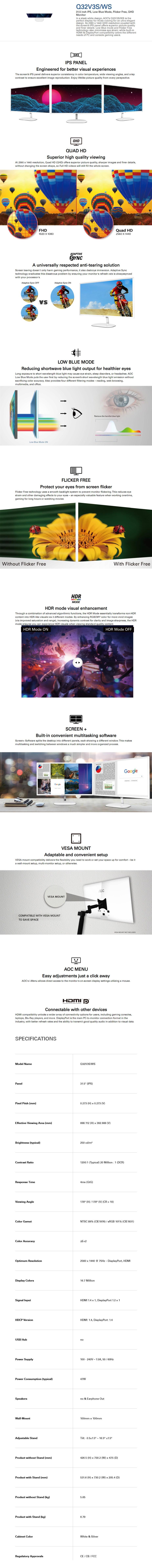 "AOC Q32V3S/WS 31.5"" WQHD 4ms 75Hz Adaptive Sync IPS Monitor - Desktop Overview 1"