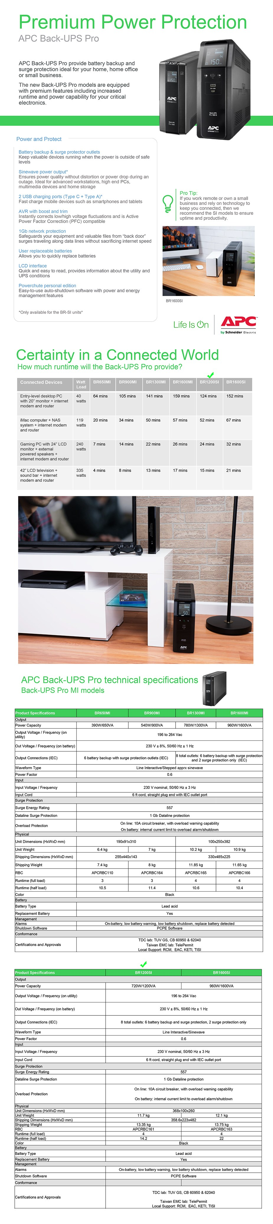 AAPC BR1200SI Back UPS Pro BR 1200VA/720W Sinewave Line Interactive UPS - Overview 1