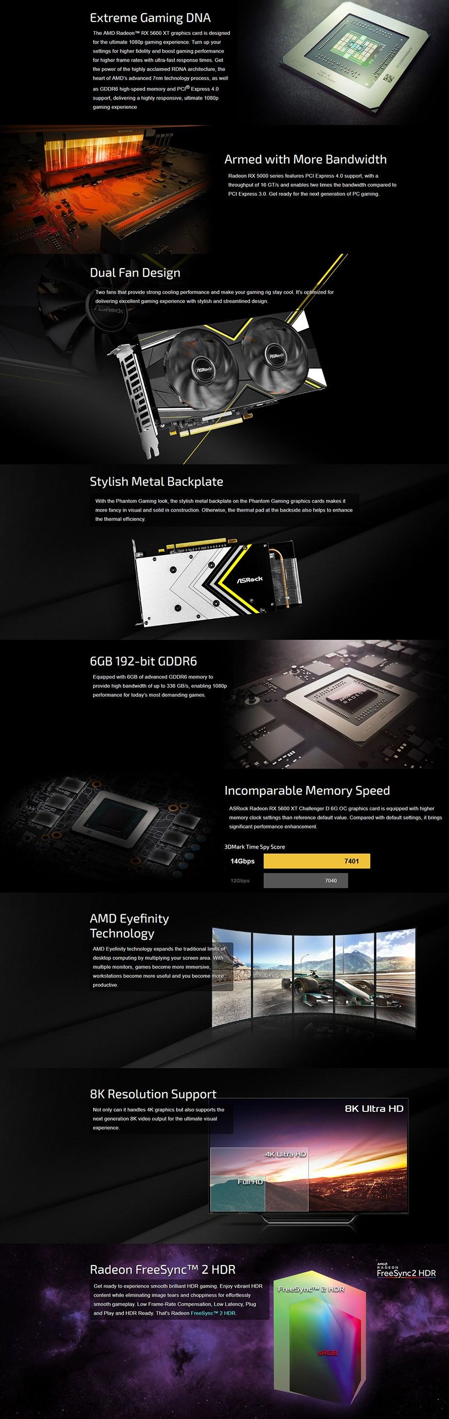 ASRock Radeon RX 5600 XT Challenger D OC 6GB Video Card - Overview 1