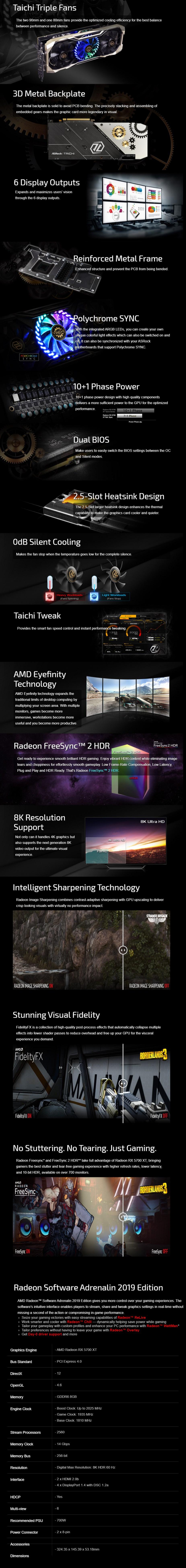 ASRock Radeon RX 5700 XT Taichi X 8GB OC+ ARGB Video Card - Overview 1