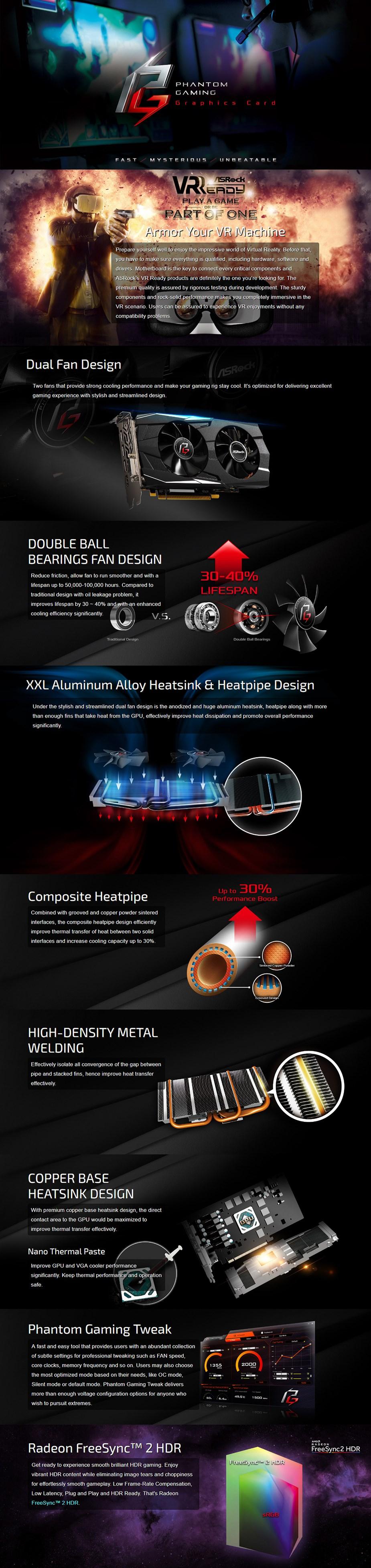 ASRock Radeon RX 570 Phantom Gaming D 4GB Video Card - Overview 1