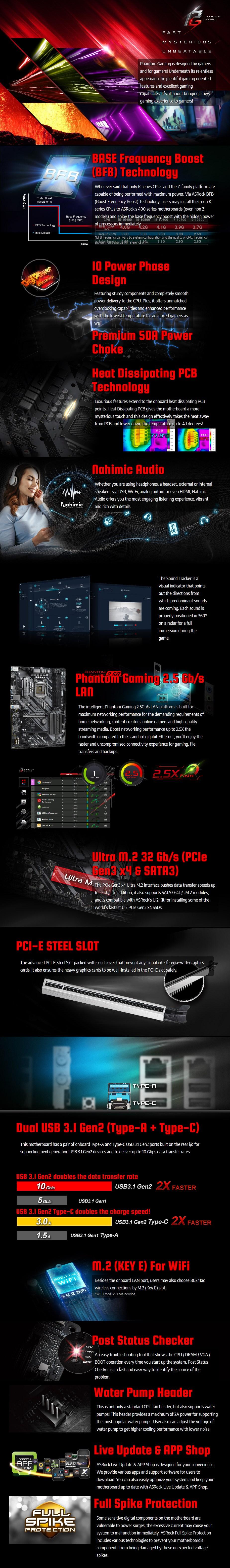 ASRock Z490 Phantom Gaming 4/2.5G LGA 1200 ATX Motherboard - Overview 1