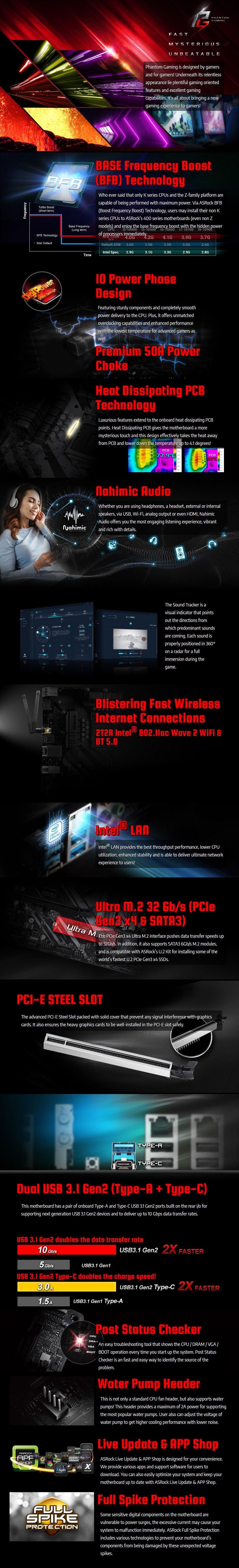 ASRock Z490 Phantom Gaming 4/ac LGA 1200 ATX Motherboard - Overview 1