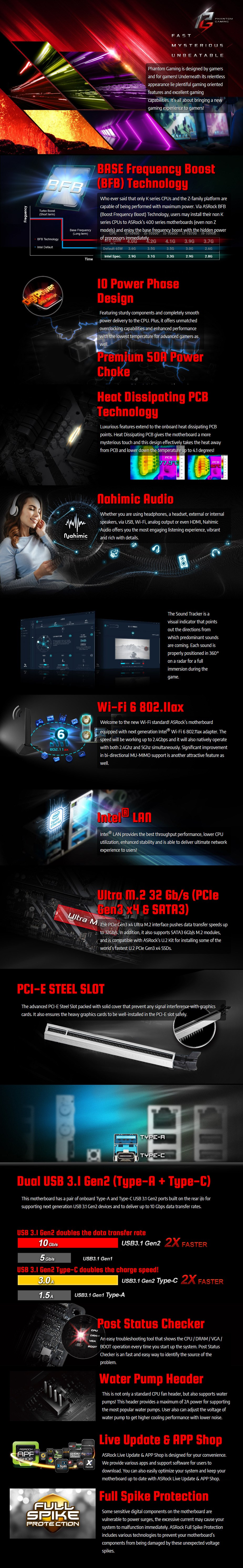 ASRock Z490 Phantom Gaming 4/ax LGA 1200 ATX Motherboard - Overview 1