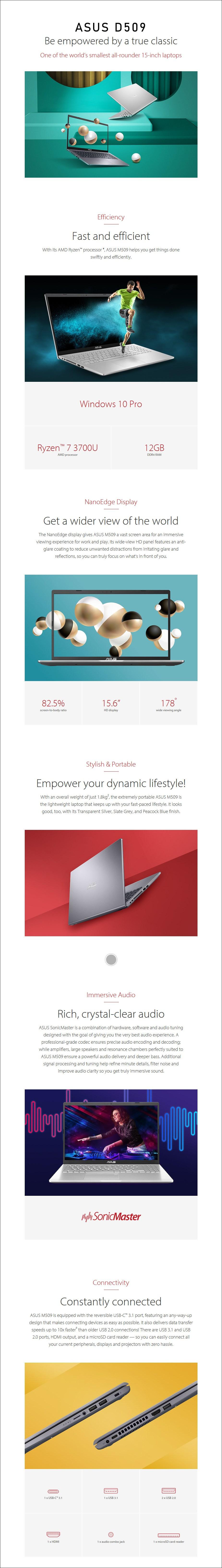 "ASUS D509DA-EJ355R 15.6"" Laptop R7-3700U 12GB 512GB W10P - Slate Grey - Overview 1"