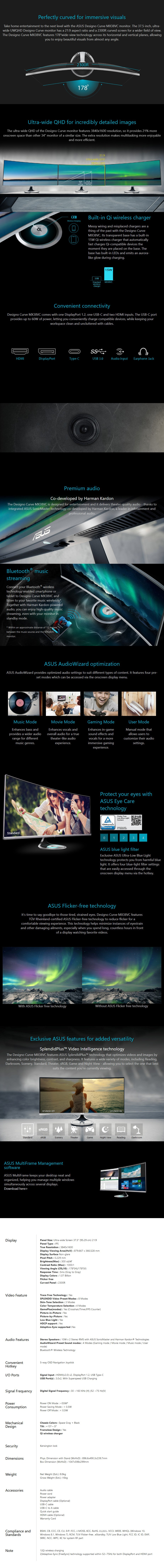 "ASUS Designo MX38VC 37.5"" Ultra-Wide QHD Curved IPS Monitor - Overview 1"