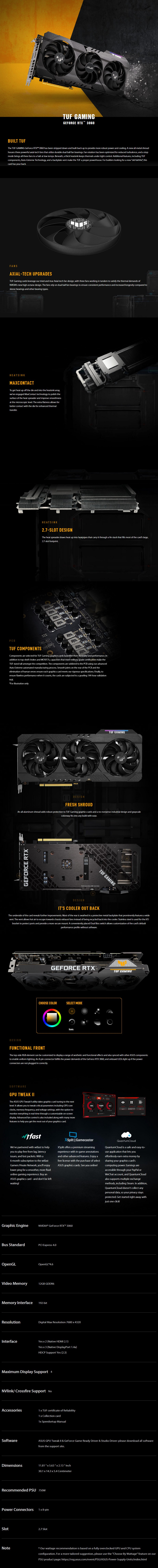 ASUS GeForce RTX 3060 TUF Gaming OC 12GB Video Card - Overview 1