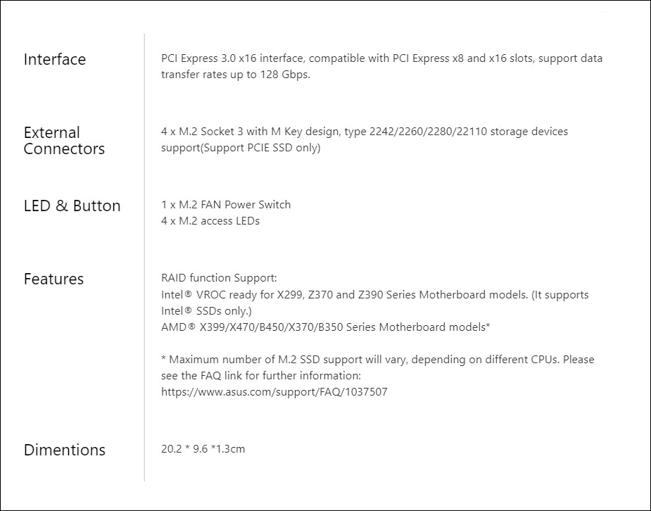 ASUS HYPER M.2 X16 CARD V2 Raid Card - Overview 2