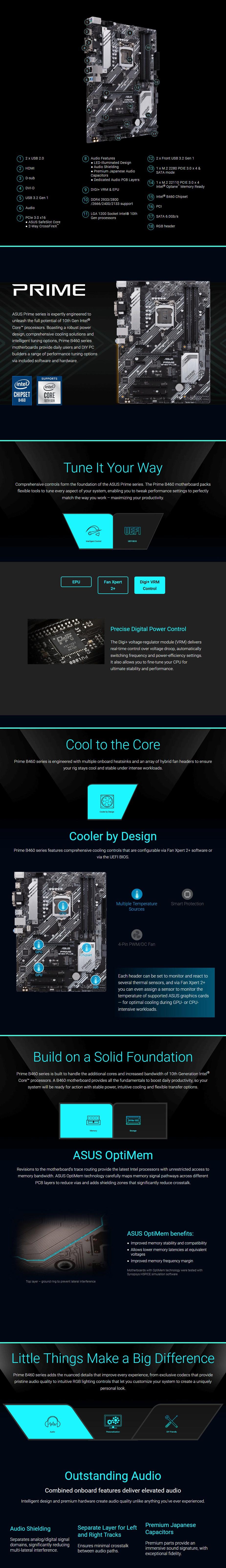 ASUS PRIME B460-PLUS LGA 1200 Micro-ATX Motherboard - Overview 1