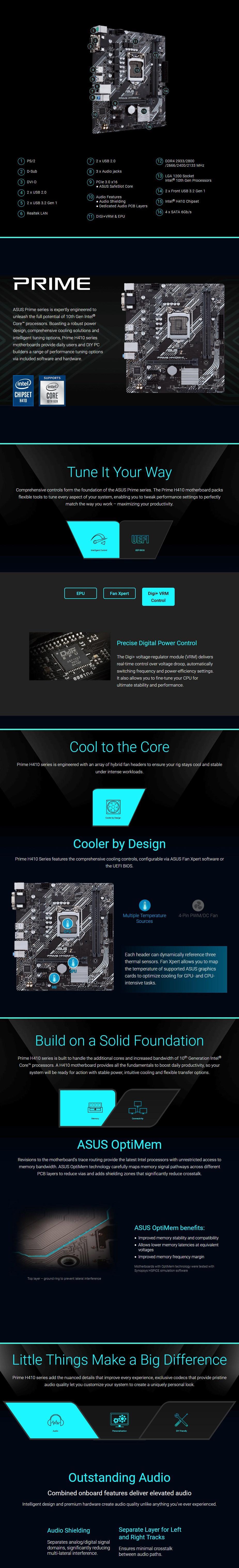 ASUS PRIME H410M-K LGA 1200 Micro-ATX Motherboard - Overview 1