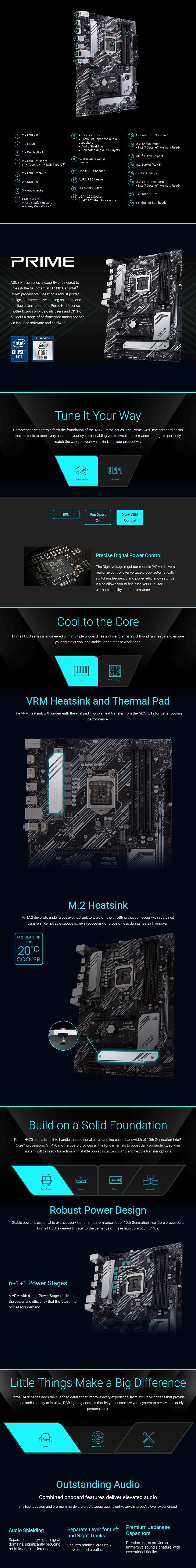 ASUS PRIME H470-PLUS LGA 1200 ATX Motherboard - Overview 1