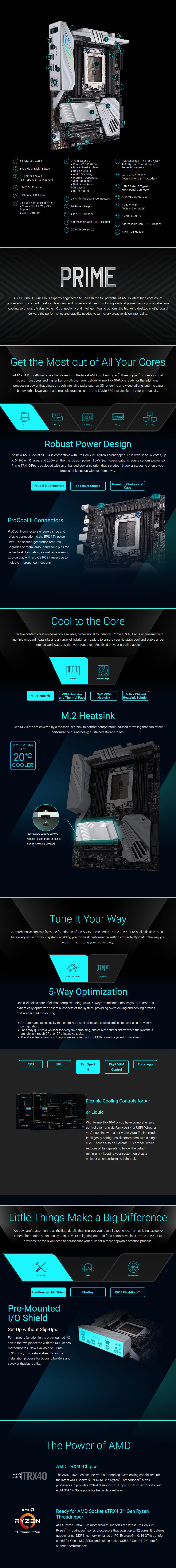 ASUS Prime TRX40 Pro sTRX4 ATX Motherboard - Overview 1