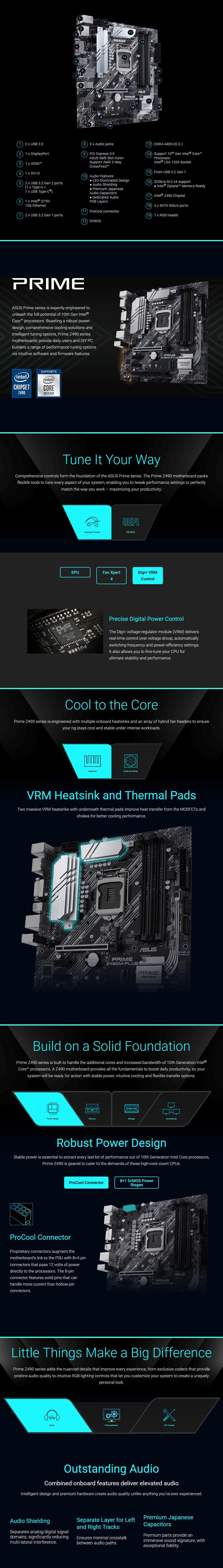 ASUS PRIME Z490M-PLUS LGA 1200 Micro-ATX Motherboard - Overview 1