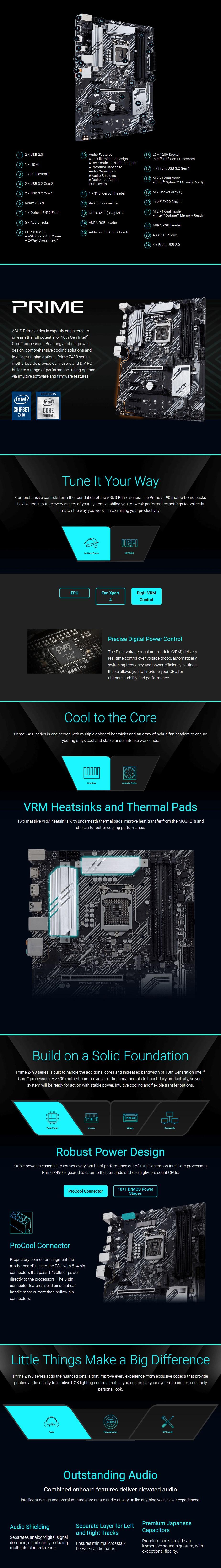 ASUS PRIME Z490-P LGA 1200 ATX Motherboard - Overview 1